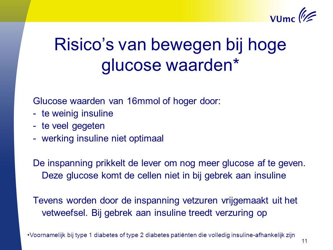Risico's van bewegen bij hoge glucose waarden* Glucose waarden van 16mmol of hoger door: -te weinig insuline -te veel gegeten -werking insuline niet o
