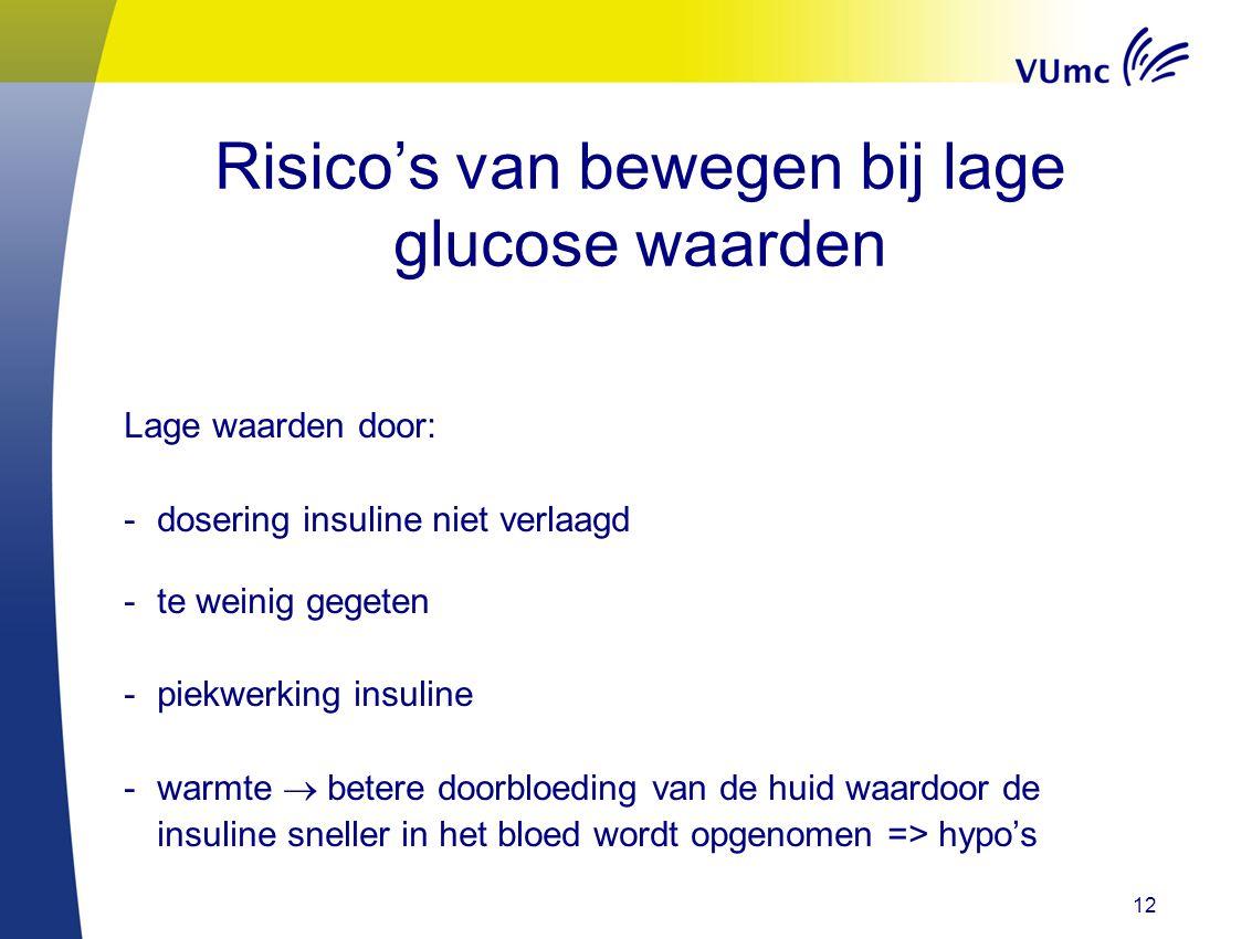 Risico's van bewegen bij lage glucose waarden Lage waarden door: -dosering insuline niet verlaagd -te weinig gegeten -piekwerking insuline -warmte  b
