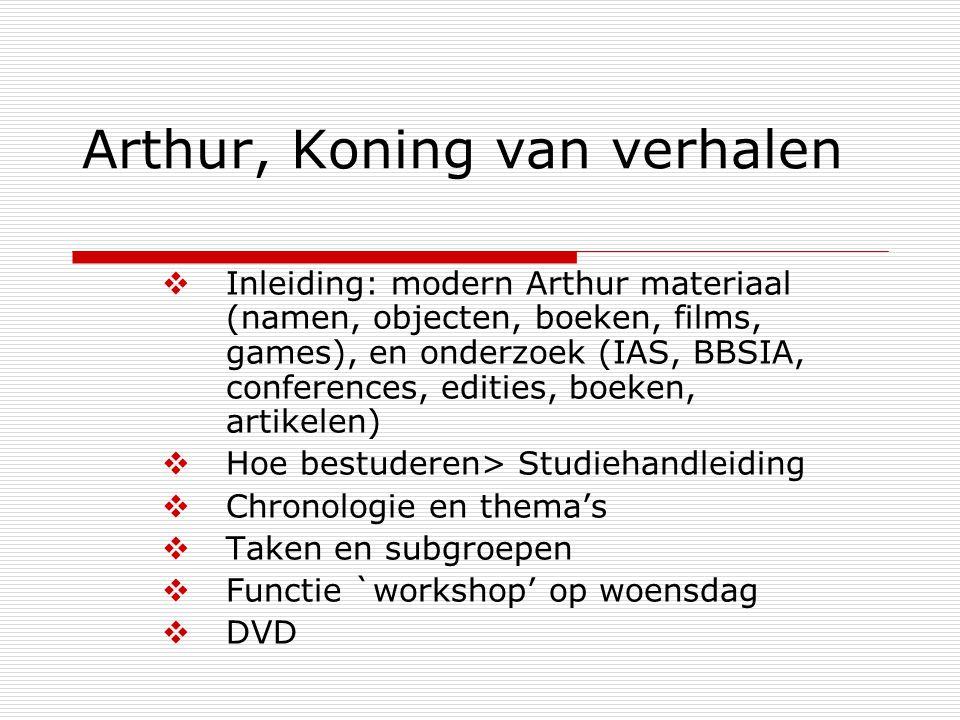 Arthur, Koning van verhalen  Inleiding: modern Arthur materiaal (namen, objecten, boeken, films, games), en onderzoek (IAS, BBSIA, conferences, editi