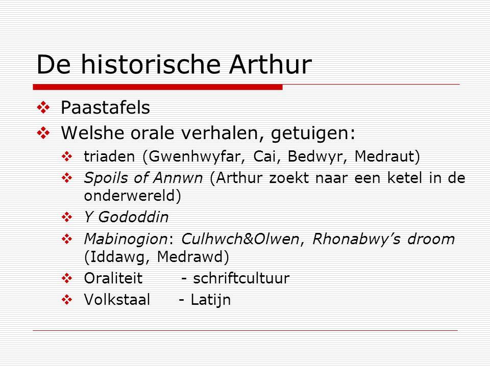 De historische Arthur  Paastafels  Welshe orale verhalen, getuigen:  triaden (Gwenhwyfar, Cai, Bedwyr, Medraut)  Spoils of Annwn (Arthur zoekt naa