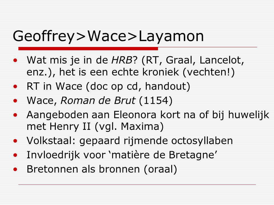 Geoffrey>Wace>Layamon Wat mis je in de HRB? (RT, Graal, Lancelot, enz.), het is een echte kroniek (vechten!) RT in Wace (doc op cd, handout) Wace, Rom