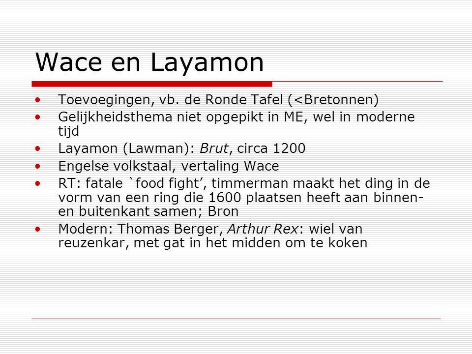 Wace en Layamon Toevoegingen, vb. de Ronde Tafel (<Bretonnen) Gelijkheidsthema niet opgepikt in ME, wel in moderne tijd Layamon (Lawman): Brut, circa