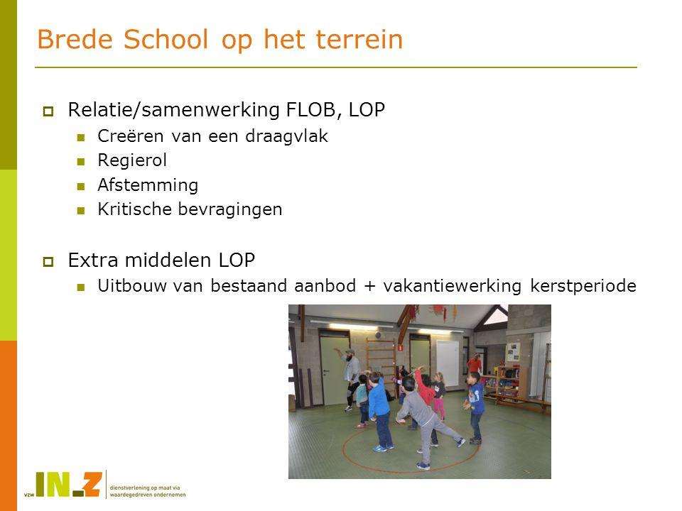 Brede School op het terrein  Relatie/samenwerking FLOB, LOP Creëren van een draagvlak Regierol Afstemming Kritische bevragingen  Extra middelen LOP