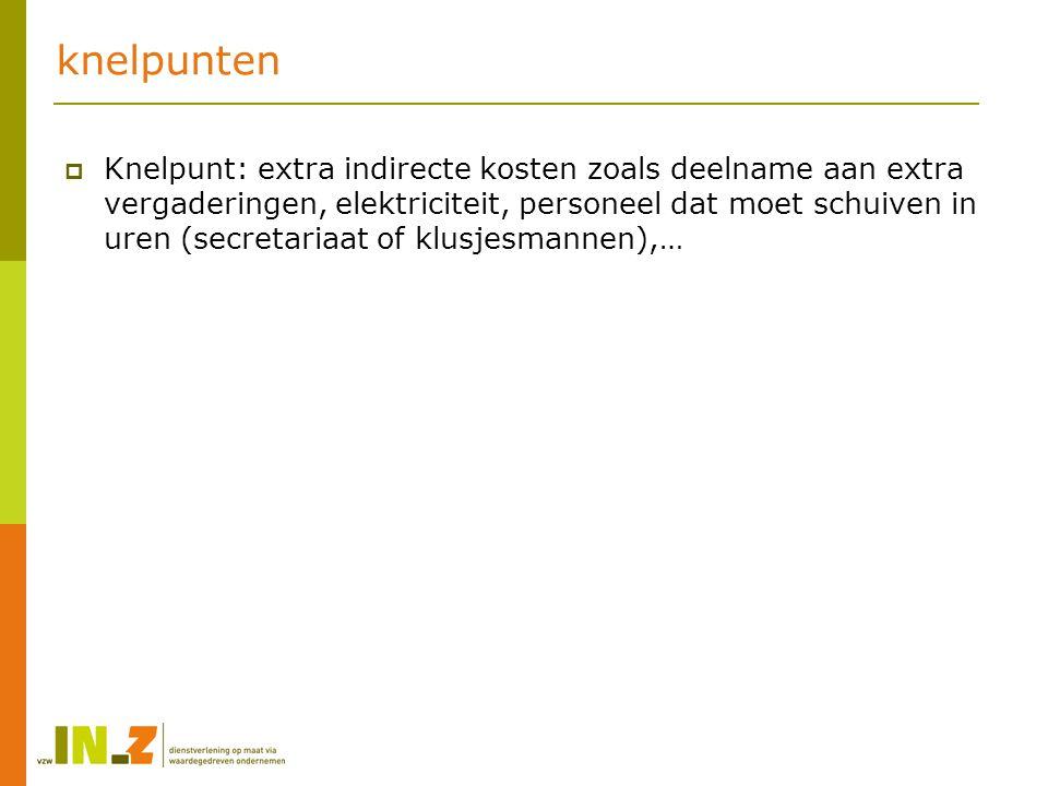 knelpunten  Knelpunt: extra indirecte kosten zoals deelname aan extra vergaderingen, elektriciteit, personeel dat moet schuiven in uren (secretariaat