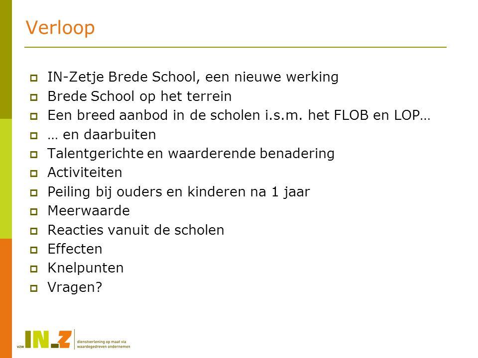 IN-Zetje Brede school, een nieuwe werking  Beleidskader Vlaanderen in Actie (VIA) Bestrijding van Kinderarmoede  Lokale nood Ontwikkelen en continueren van een brede leer- en leefomgeving Tekort aan kinderopvang Vrijetijdsaanbod dat niet voor alle kinderen toegankelijk is Versterken van ouderlijke betrokkenheid, netwerken en vaardigheden  Uitvoering en partnerschap Vzw IN-Z Stad Sint-Truiden (regierol) LOP Sint-Truiden HIVA KULeuven (Onderzoeksgroep onderwijs en levenslang leren)