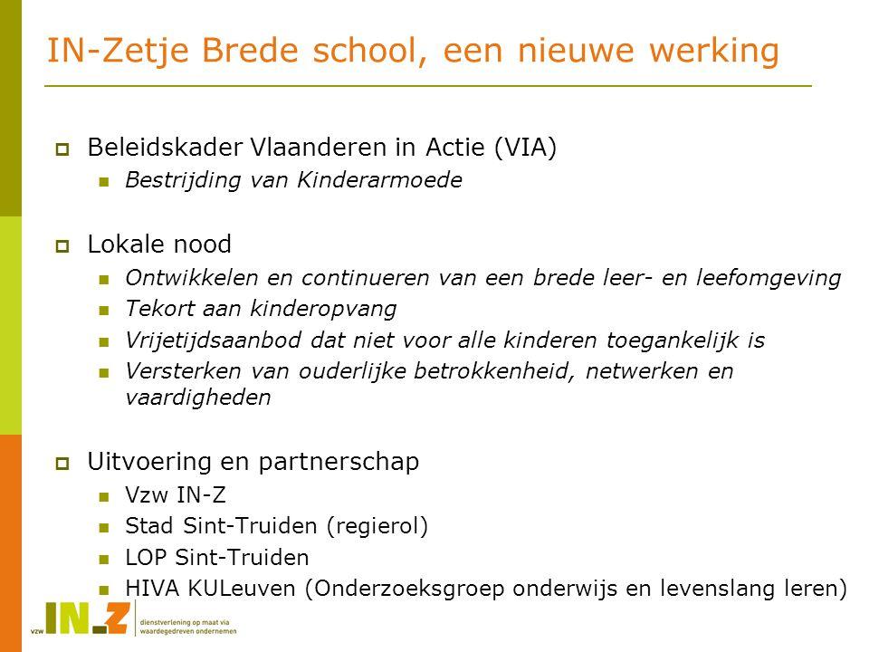 IN-Zetje Brede school, een nieuwe werking  Beleidskader Vlaanderen in Actie (VIA) Bestrijding van Kinderarmoede  Lokale nood Ontwikkelen en continue