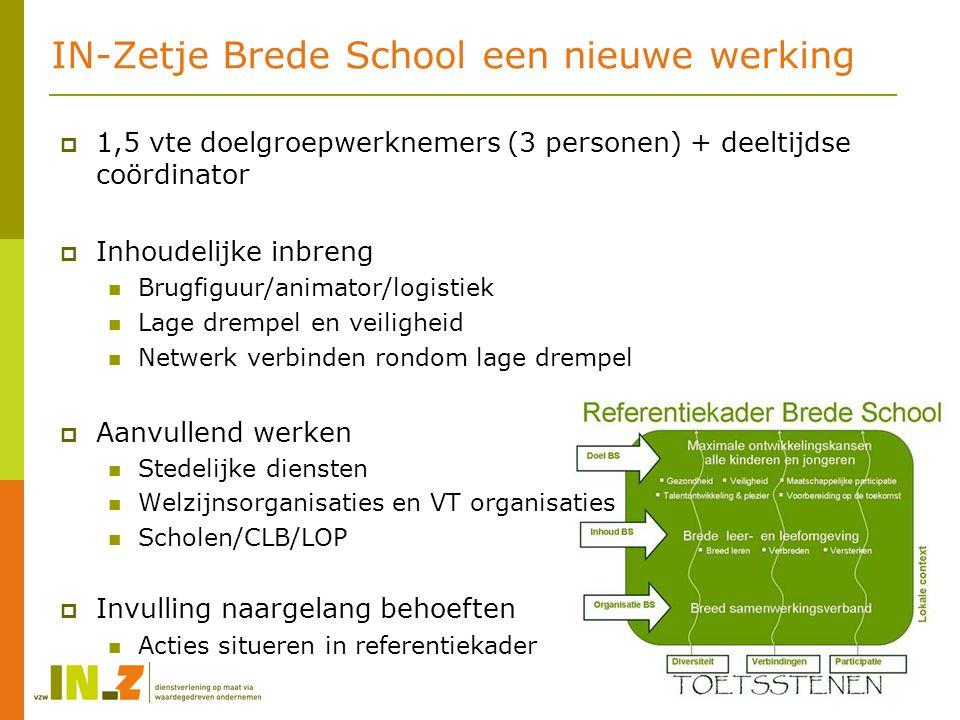 IN-Zetje Brede School een nieuwe werking  1,5 vte doelgroepwerknemers (3 personen) + deeltijdse coördinator  Inhoudelijke inbreng Brugfiguur/animato