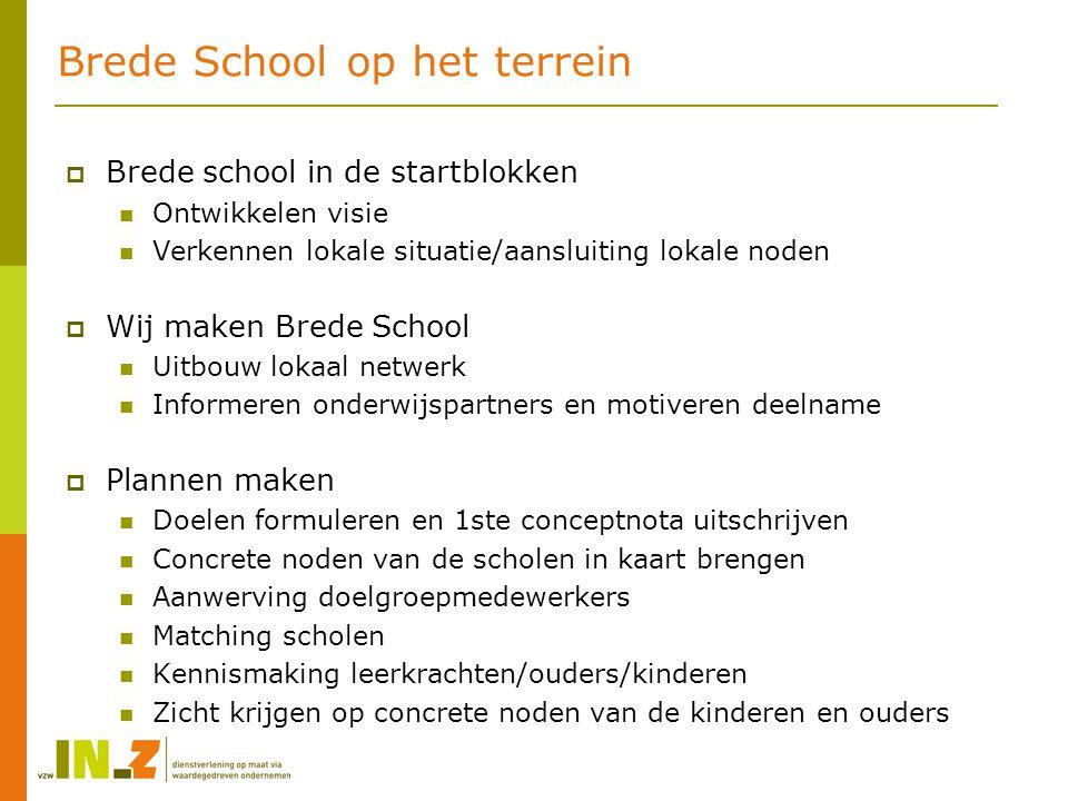 Brede School op het terrein  Brede school in de startblokken Ontwikkelen visie Verkennen lokale situatie/aansluiting lokale noden  Wij maken Brede S