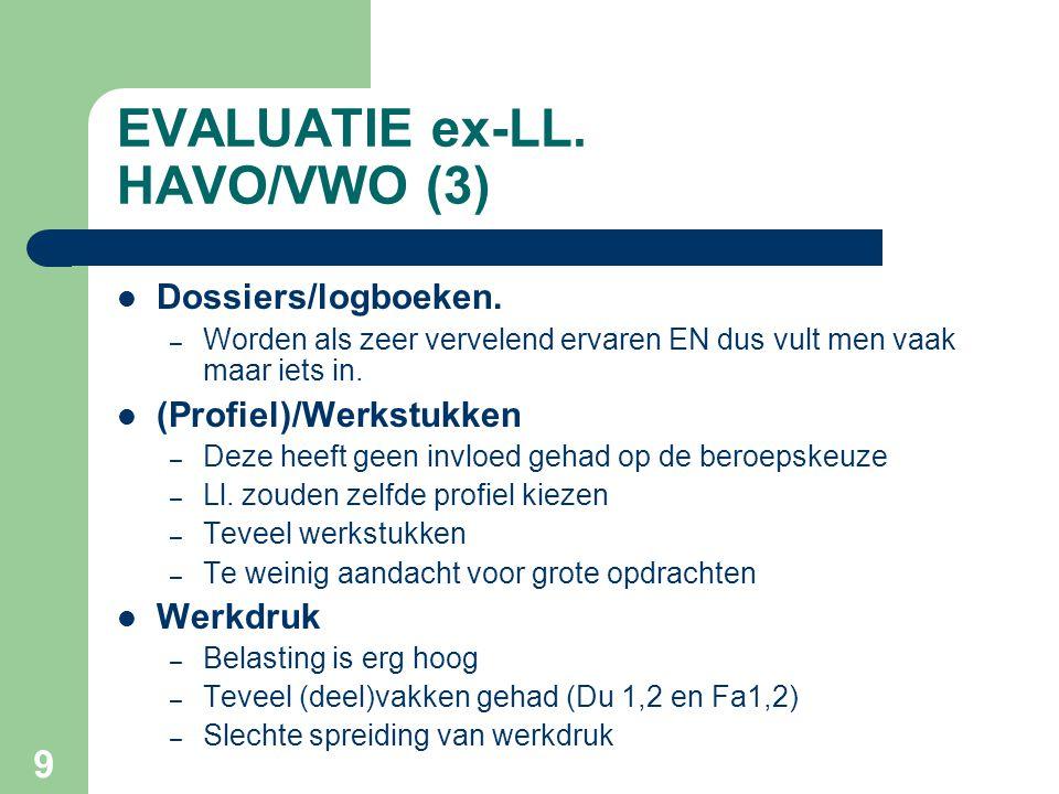 9 EVALUATIE ex-LL.HAVO/VWO (3) Dossiers/logboeken.