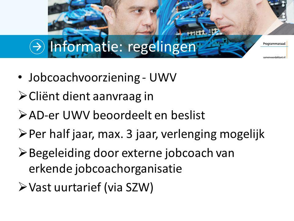 Informatie: regelingen Jobcoachvoorziening - UWV  Cliënt dient aanvraag in  AD-er UWV beoordeelt en beslist  Per half jaar, max. 3 jaar, verlenging