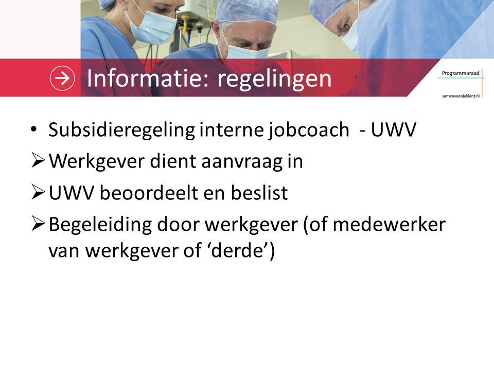 Informatie: regelingen Subsidieregeling interne jobcoach - UWV  Werkgever dient aanvraag in  UWV beoordeelt en beslist  Begeleiding door werkgever