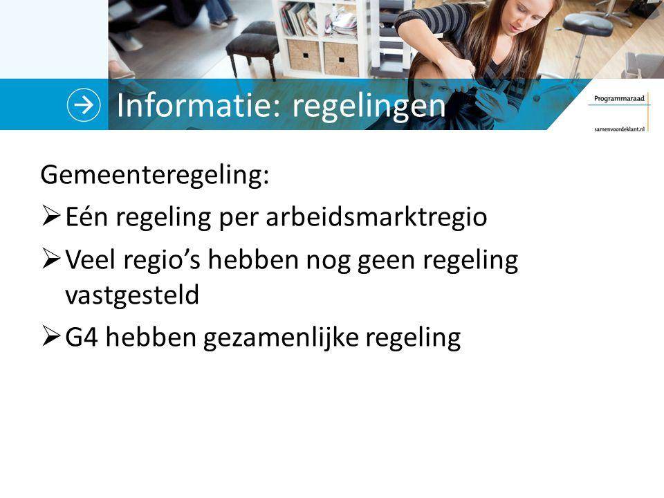 Informatie: regelingen Gemeenteregeling:  Eén regeling per arbeidsmarktregio  Veel regio's hebben nog geen regeling vastgesteld  G4 hebben gezamenl