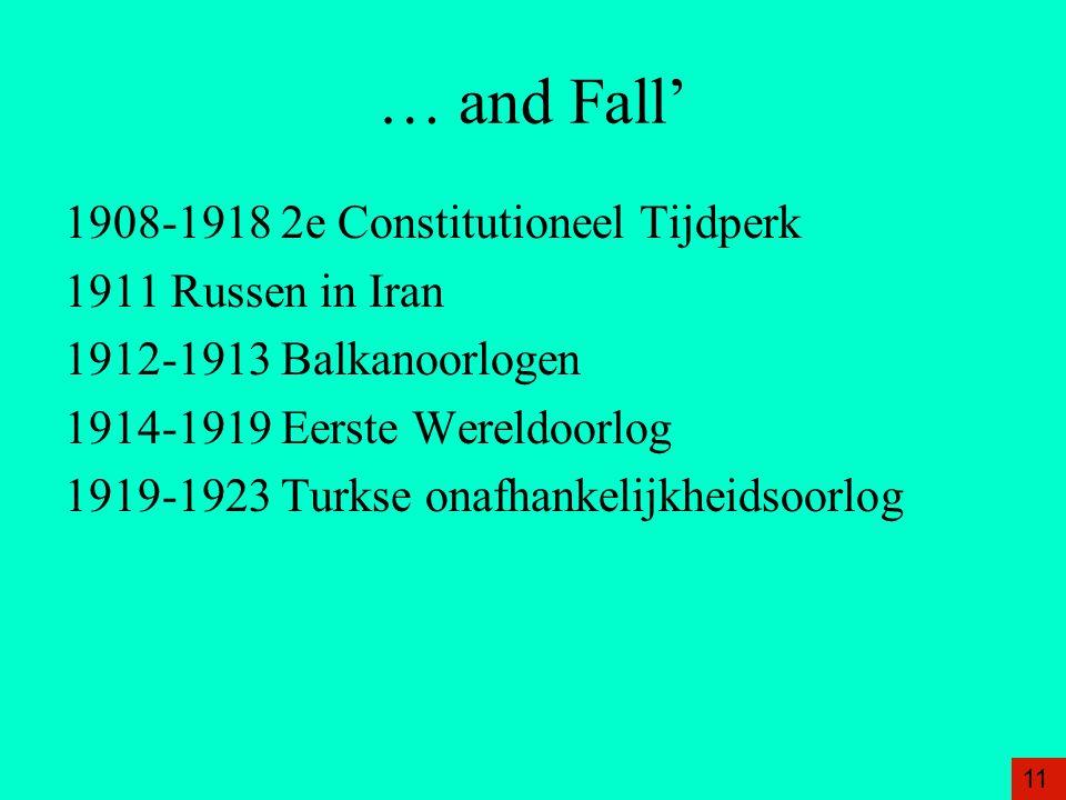 … and Fall' 1908-1918 2e Constitutioneel Tijdperk 1911 Russen in Iran 1912-1913 Balkanoorlogen 1914-1919 Eerste Wereldoorlog 1919-1923 Turkse onafhankelijkheidsoorlog 11
