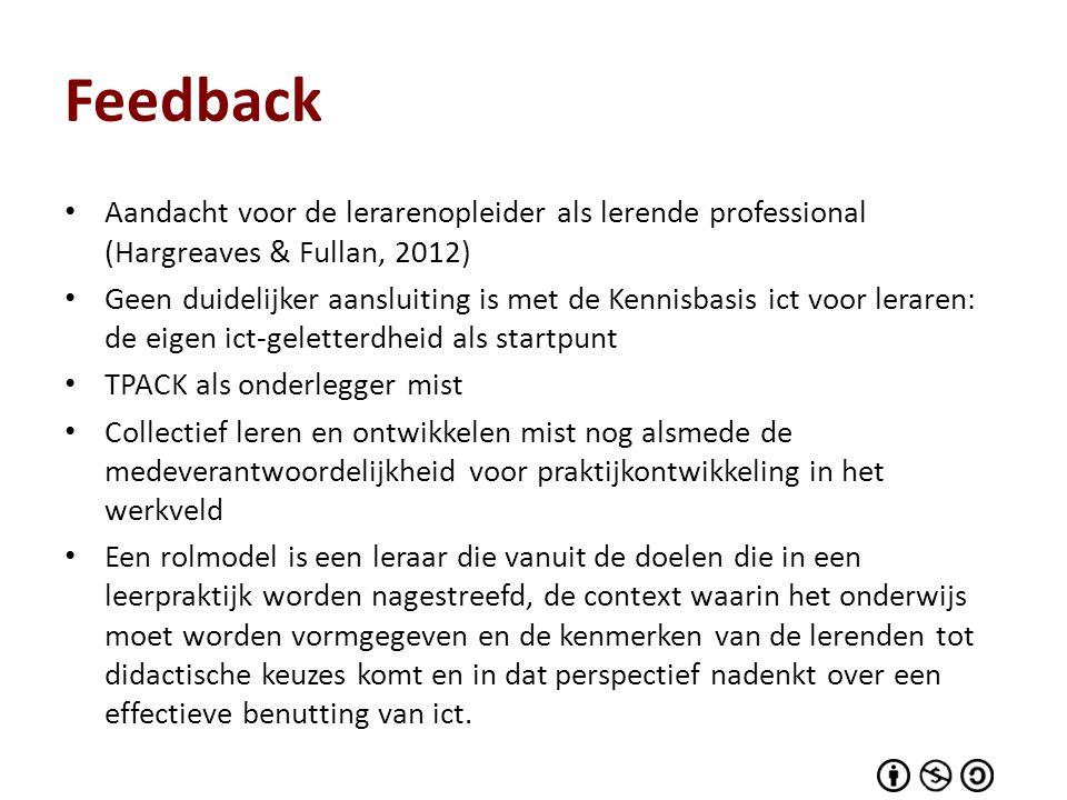 Feedback Aandacht voor de lerarenopleider als lerende professional (Hargreaves & Fullan, 2012) Geen duidelijker aansluiting is met de Kennisbasis ict