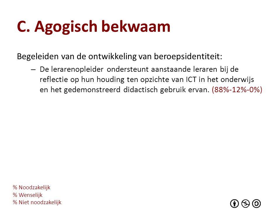 C. Agogisch bekwaam Begeleiden van de ontwikkeling van beroepsidentiteit: – De lerarenopleider ondersteunt aanstaande leraren bij de reflectie op hun