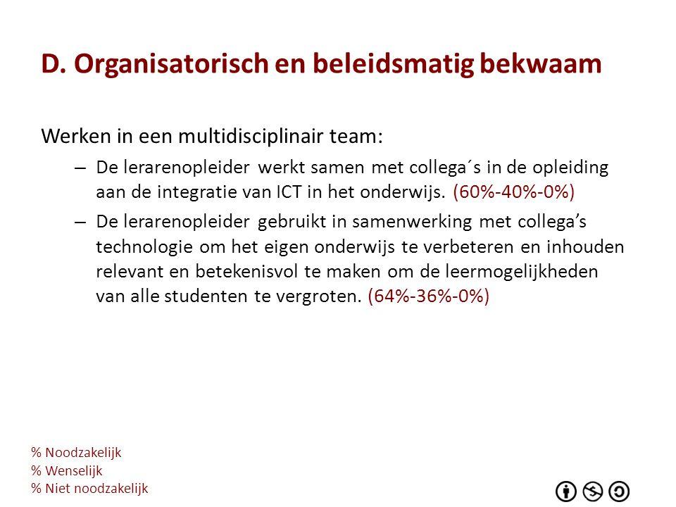 D. Organisatorisch en beleidsmatig bekwaam Werken in een multidisciplinair team: – De lerarenopleider werkt samen met collega´s in de opleiding aan de