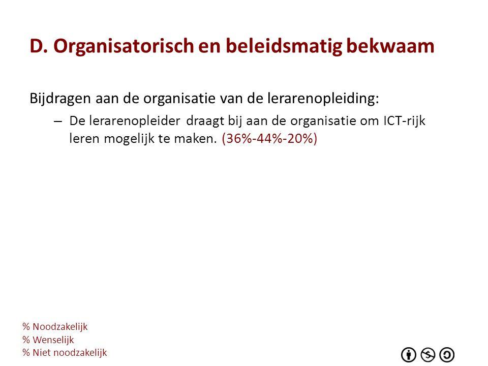 D. Organisatorisch en beleidsmatig bekwaam Bijdragen aan de organisatie van de lerarenopleiding: – De lerarenopleider draagt bij aan de organisatie om