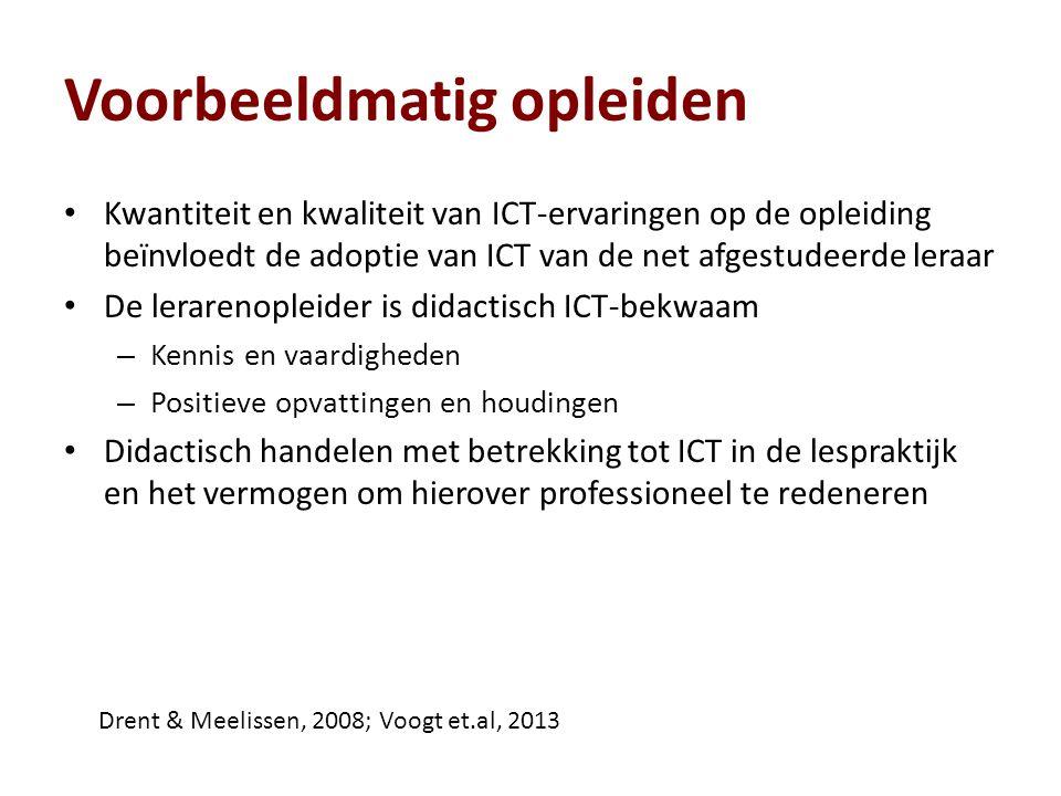 Voorbeeldmatig opleiden Kwantiteit en kwaliteit van ICT-ervaringen op de opleiding beïnvloedt de adoptie van ICT van de net afgestudeerde leraar De le