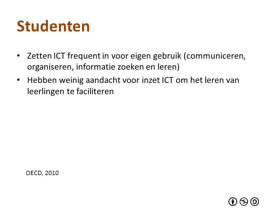 Studenten Zetten ICT frequent in voor eigen gebruik (communiceren, organiseren, informatie zoeken en leren) Hebben weinig aandacht voor inzet ICT om h