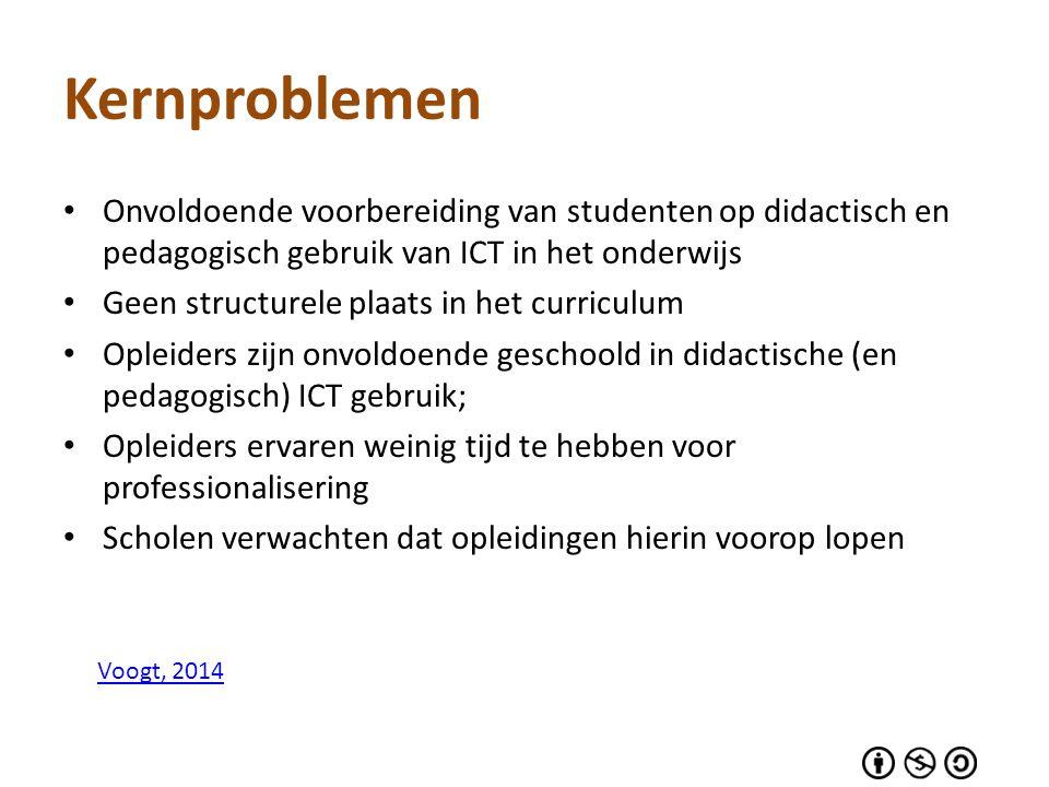 Kernproblemen Onvoldoende voorbereiding van studenten op didactisch en pedagogisch gebruik van ICT in het onderwijs Geen structurele plaats in het cur