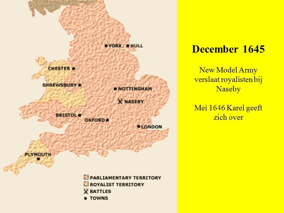 Tweede Burgeroorlog (1647-49) 1647 Schotten leveren Karel uit, Leger marcheert op Londen, Karel onderhandelt vanaf Wight 1648 Muiterijen en Schotse invasie neergeslagen Hernieuwde gevechten tussen royalisten en parlementariërs Pride's Purge 1649 Romp-parlement veroordeelt Karel Partijen 1646-1649 - Karel I: speelt alle groepen tegen elkaar uit - Schotten: streven naar Presbyterianisme, verbond met Parl., later met Karel (1647) - Parlement  Presbyterians (Denzil Holles): alliantie met Schotten, onderhandelen met Karel vrezen radicalisering, ontbinden leger 1647  Independents  Middle Party (partij van Pym)  Radicals (Levellers): leger garantie veranderingen - Leger  Grandees (hoge officieren: Cromwell, Ireton): tussenpositie, maar slaan reb.