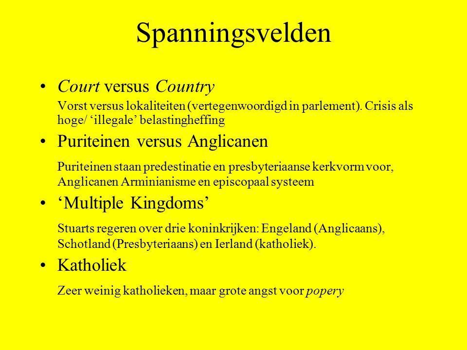 Spanningsvelden Court versus Country Vorst versus lokaliteiten (vertegenwoordigd in parlement). Crisis als hoge/ 'illegale' belastingheffing Puriteine