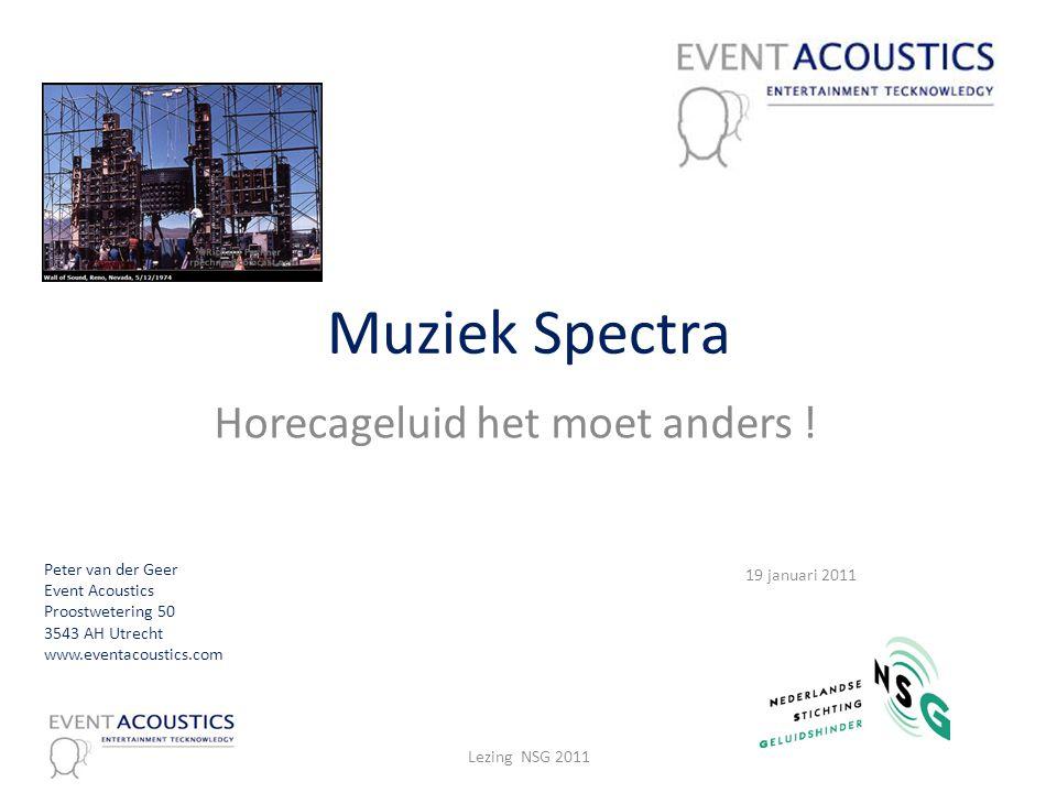 Muziek Spectra Horecageluid het moet anders ! Peter van der Geer Event Acoustics Proostwetering 50 3543 AH Utrecht www.eventacoustics.com 19 januari 2