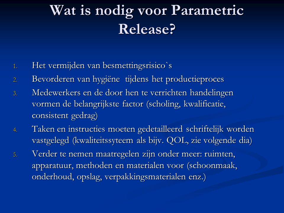 Wat is nodig voor Parametric Release? 1. Het vermijden van besmettingsrisico`s 2. Bevorderen van hygiëne tijdens het productieproces 3. Medewerkers en