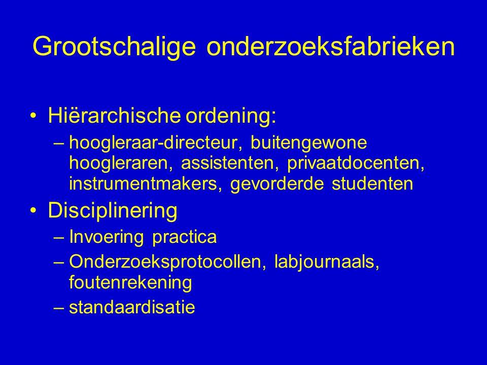 Grootschalige onderzoeksfabrieken Hiërarchische ordening: –hoogleraar-directeur, buitengewone hoogleraren, assistenten, privaatdocenten, instrumentmak