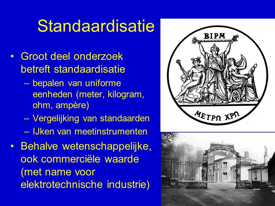 Standaardisatie Groot deel onderzoek betreft standaardisatie –bepalen van uniforme eenheden (meter, kilogram, ohm, ampère) –Vergelijking van standaard