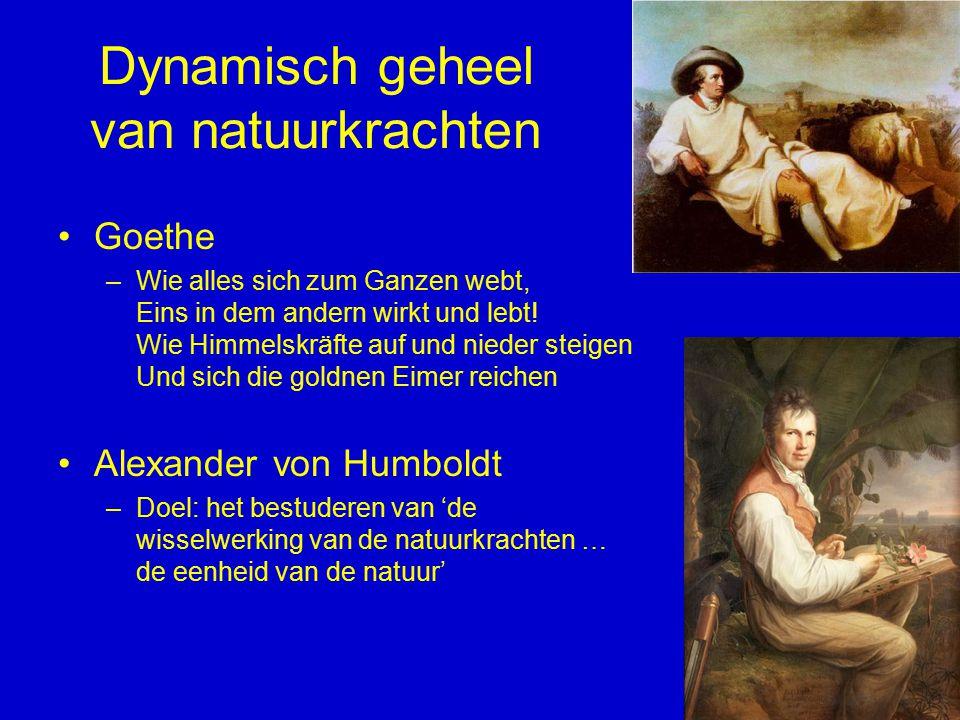 Dynamisch geheel van natuurkrachten Goethe –Wie alles sich zum Ganzen webt, Eins in dem andern wirkt und lebt! Wie Himmelskräfte auf und nieder steige