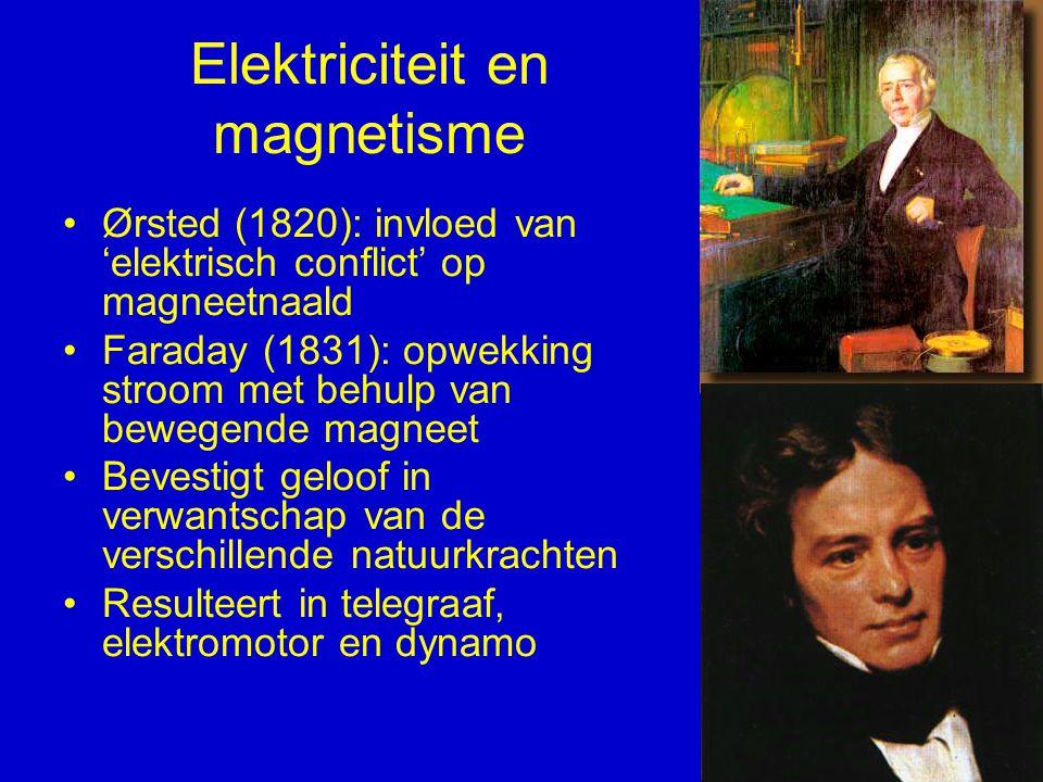 Elektriciteit en magnetisme Ørsted (1820): invloed van 'elektrisch conflict' op magneetnaald Faraday (1831): opwekking stroom met behulp van bewegende