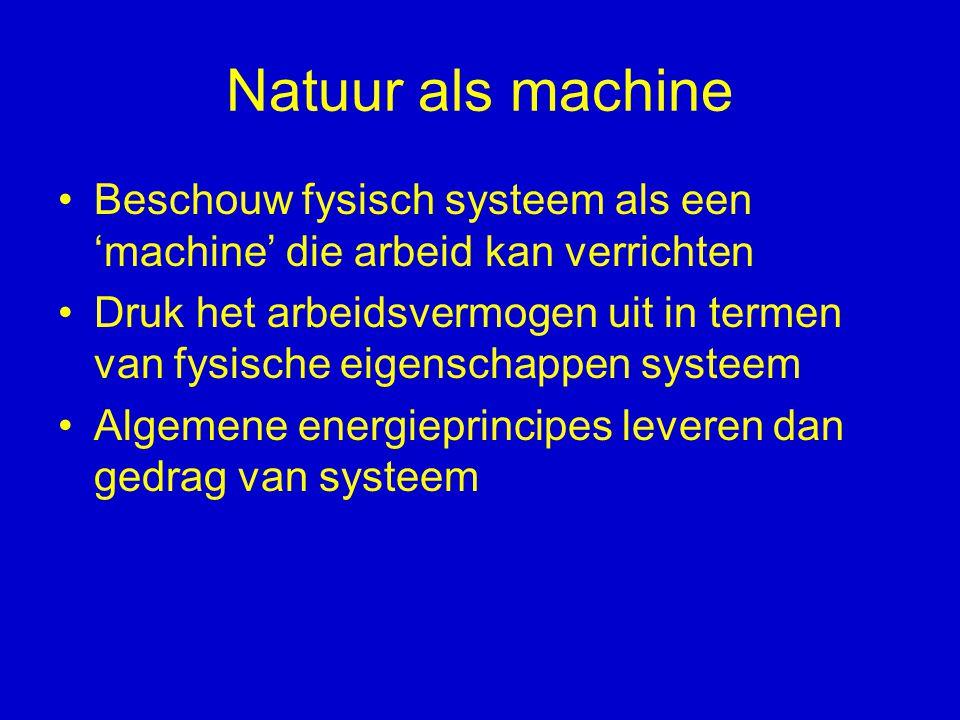 Voorbeeld: Thomson (1845) Opgave: bepaal kracht tussen twee op batterij aangesloten metalen bollen Sommeren over alle krachten tussen ieder paar ladingen, lukt beste wiskundigen niet Student William Thomson schrijft oplossing op in twee regels Door systeem te behandelen als een machine die arbeid kan verrichten