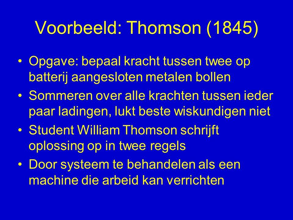 Voorbeeld: Thomson (1845) Opgave: bepaal kracht tussen twee op batterij aangesloten metalen bollen Sommeren over alle krachten tussen ieder paar ladin