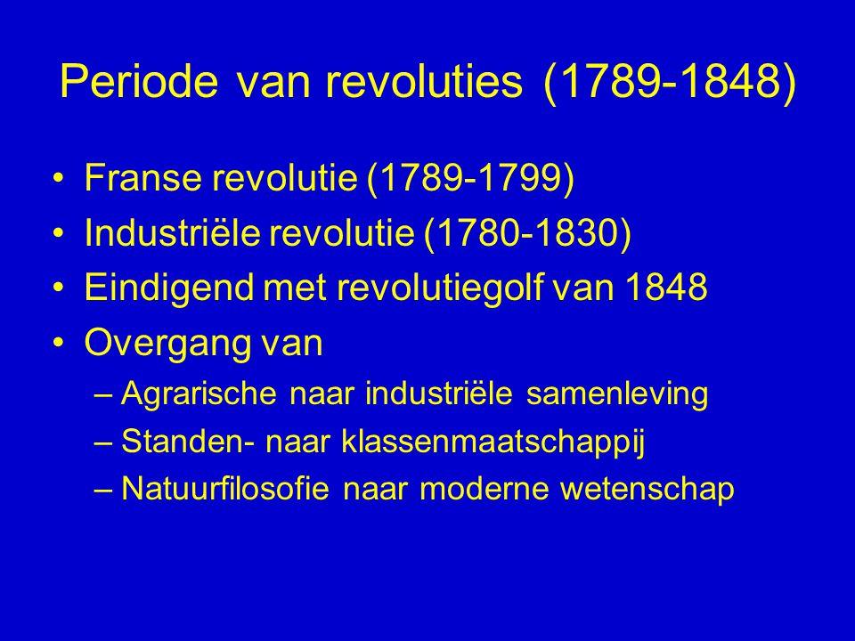 Periode van revoluties (1789-1848) Franse revolutie (1789-1799) Industriële revolutie (1780-1830) Eindigend met revolutiegolf van 1848 Overgang van –A