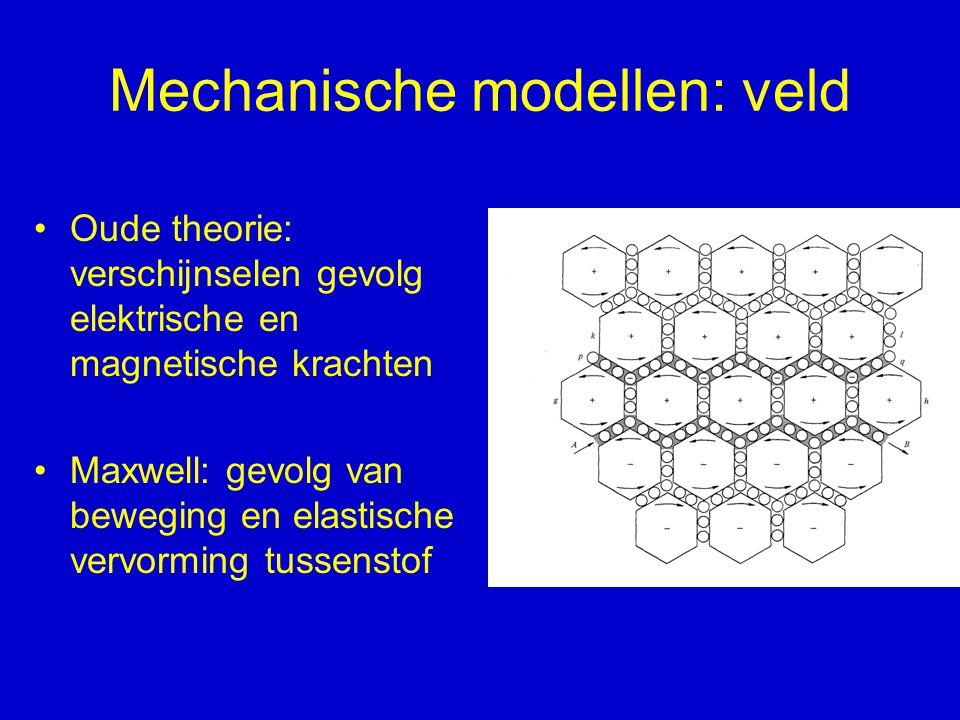 Mechanische modellen: veld Oude theorie: verschijnselen gevolg elektrische en magnetische krachten Maxwell: gevolg van beweging en elastische vervormi