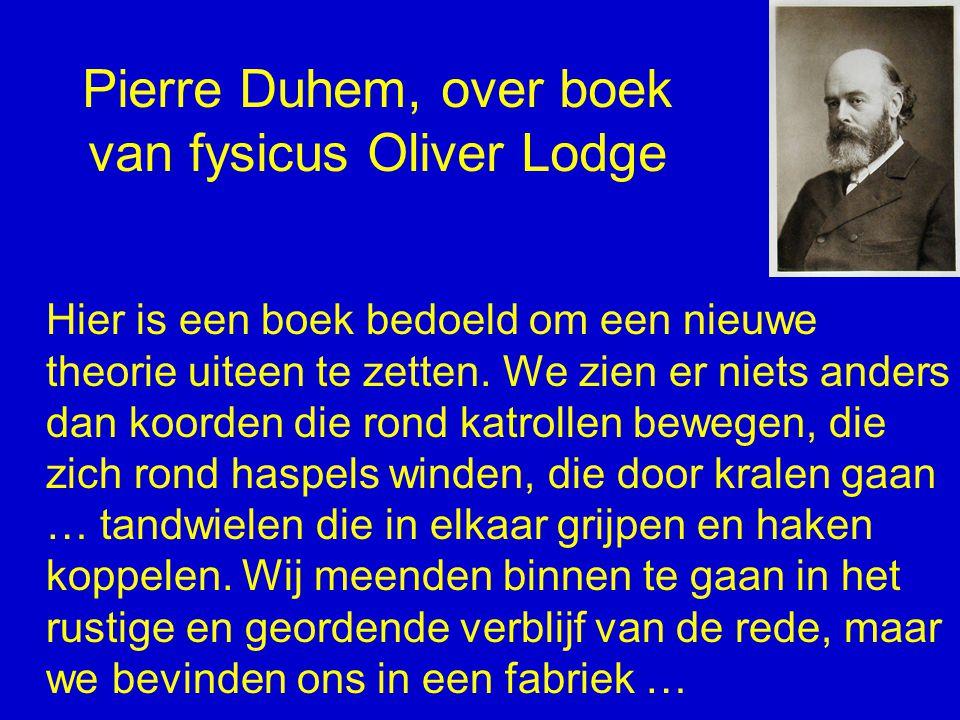 Pierre Duhem, over boek van fysicus Oliver Lodge Hier is een boek bedoeld om een nieuwe theorie uiteen te zetten. We zien er niets anders dan koorden
