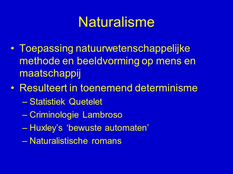 Naturalisme Toepassing natuurwetenschappelijke methode en beeldvorming op mens en maatschappij Resulteert in toenemend determinisme –Statistiek Quetel