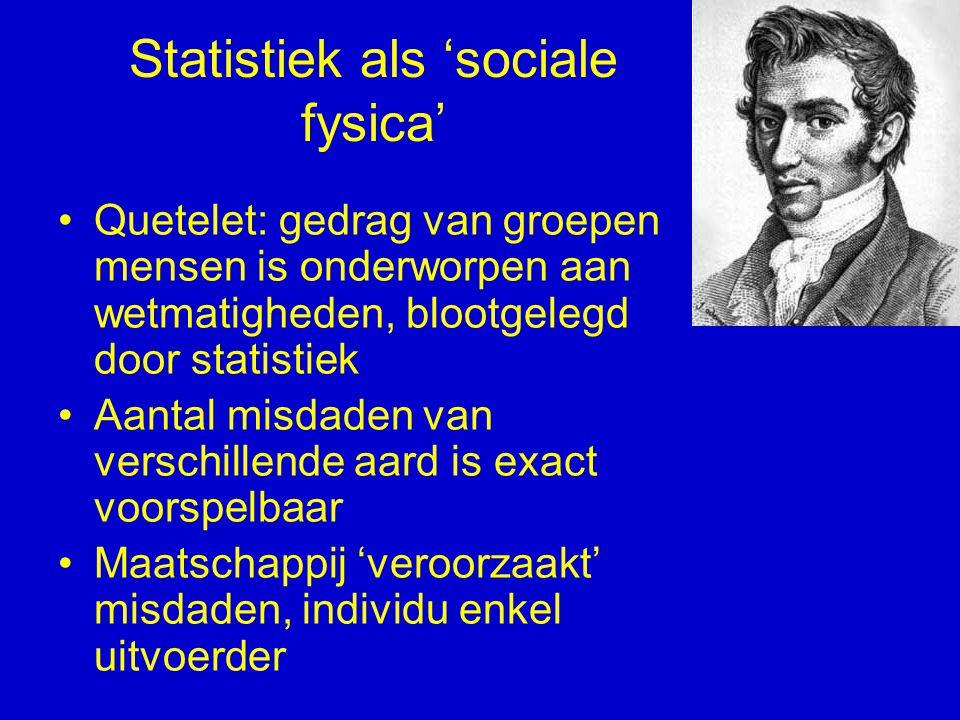 Statistiek als 'sociale fysica' Quetelet: gedrag van groepen mensen is onderworpen aan wetmatigheden, blootgelegd door statistiek Aantal misdaden van