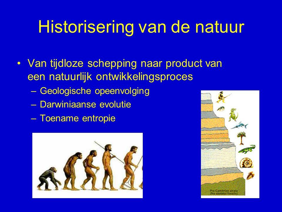 Historisering van de natuur Van tijdloze schepping naar product van een natuurlijk ontwikkelingsproces –Geologische opeenvolging –Darwiniaanse evoluti