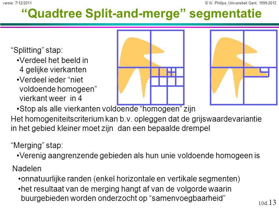 """© W. Philips, Universiteit Gent, 1999-2012versie: 7/12/2011 10d. 13 """"Quadtree Split-and-merge"""" segmentatie """"Splitting"""" stap: Verdeel het beeld in 4 ge"""