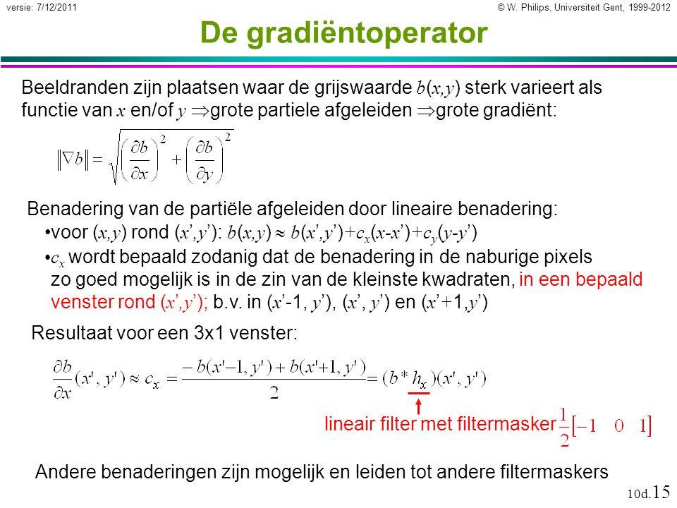 © W. Philips, Universiteit Gent, 1999-2012versie: 7/12/2011 10d. 15 De gradiëntoperator Beeldranden zijn plaatsen waar de grijswaarde b ( x,y ) sterk