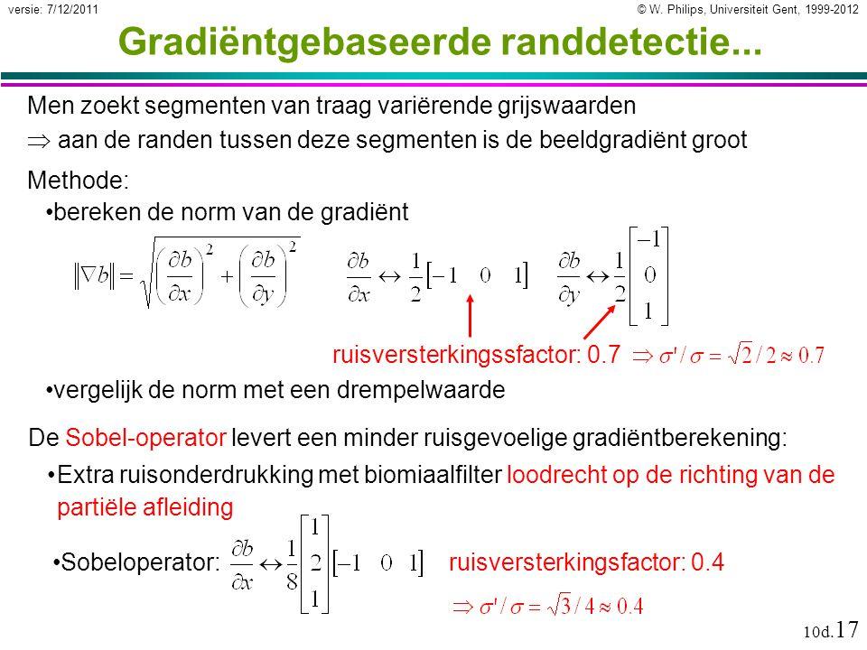 © W. Philips, Universiteit Gent, 1999-2012versie: 7/12/2011 10d. 17 Gradiëntgebaseerde randdetectie... Men zoekt segmenten van traag variërende grijsw