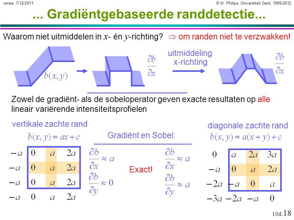 © W. Philips, Universiteit Gent, 1999-2012versie: 7/12/2011 10d. 18... Gradiëntgebaseerde randdetectie... Waarom niet uitmiddelen in x - én y -richtin