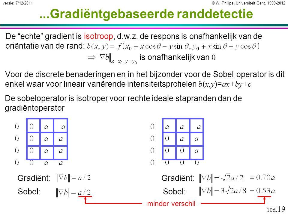 © W. Philips, Universiteit Gent, 1999-2012versie: 7/12/2011 10d. 19...Gradiëntgebaseerde randdetectie Voor de discrete benaderingen en in het bijzonde