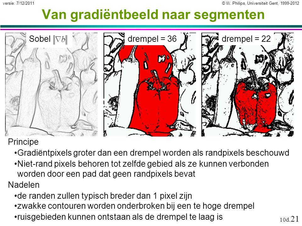 © W. Philips, Universiteit Gent, 1999-2012versie: 7/12/2011 10d. 21 Van gradiëntbeeld naar segmenten Principe Gradiëntpixels groter dan een drempel wo