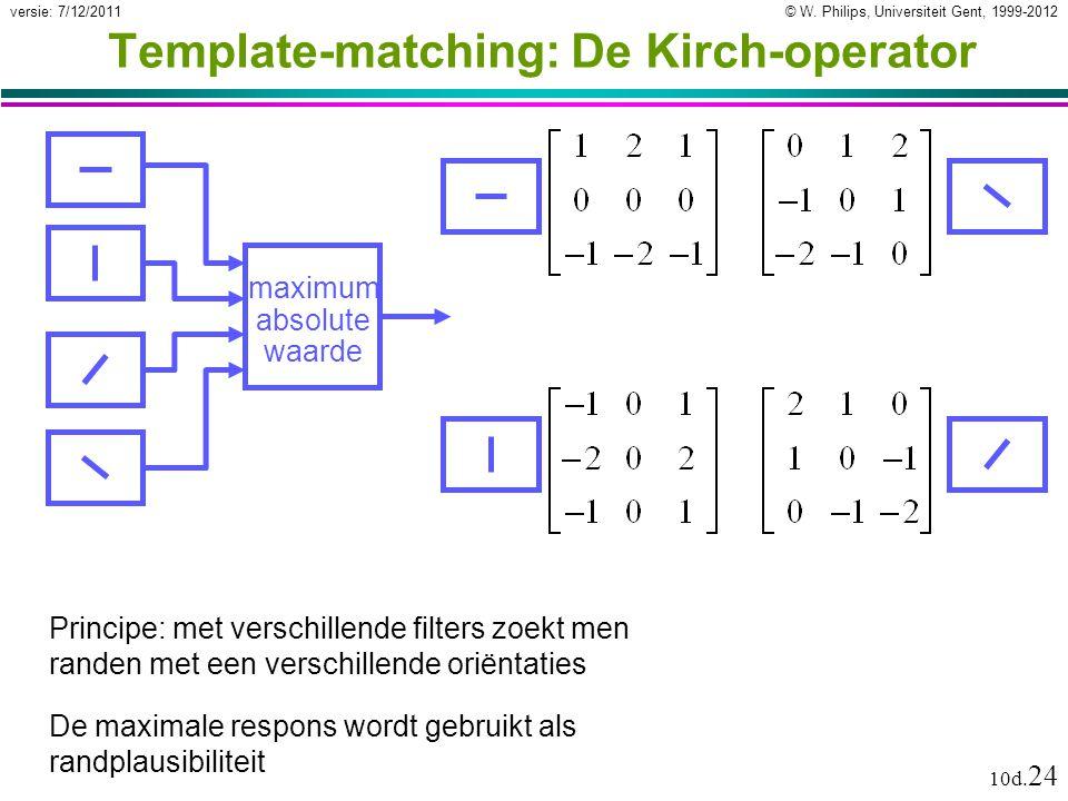 © W. Philips, Universiteit Gent, 1999-2012versie: 7/12/2011 10d. 24 Template-matching: De Kirch-operator Principe: met verschillende filters zoekt men