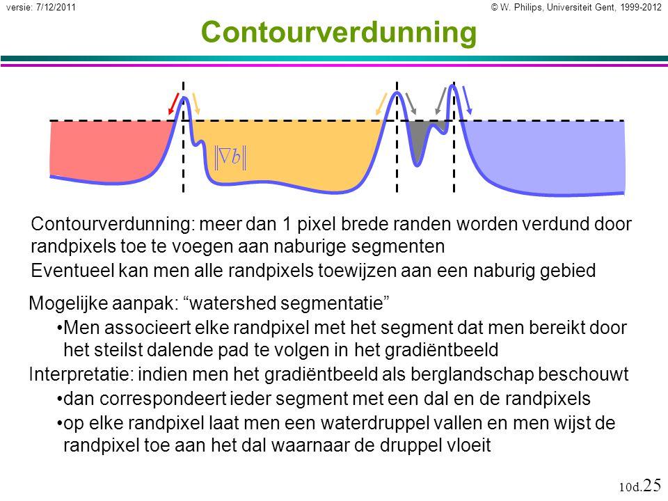 © W. Philips, Universiteit Gent, 1999-2012versie: 7/12/2011 10d. 25 Contourverdunning Contourverdunning: meer dan 1 pixel brede randen worden verdund