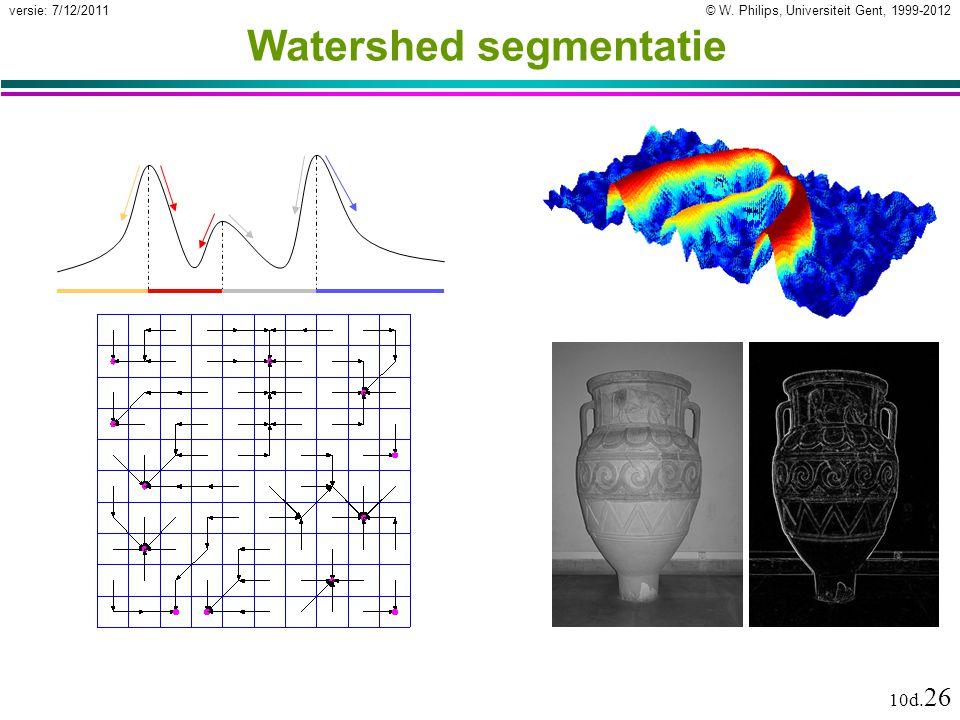 © W. Philips, Universiteit Gent, 1999-2012versie: 7/12/2011 10d. 26 Watershed segmentatie