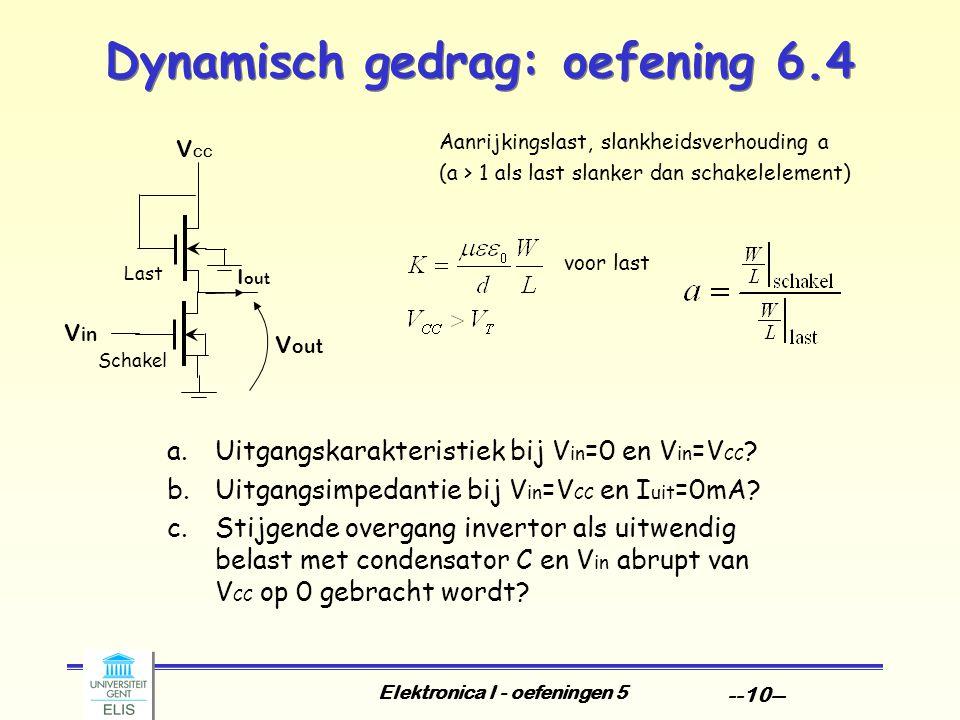 Elektronica I - oefeningen 5 --10-- Dynamisch gedrag: oefening 6.4 Last Aanrijkingslast, slankheidsverhouding a (a > 1 als last slanker dan schakelelement) voor last V out V in V CC I out Schakel a.Uitgangskarakteristiek bij V in =0 en V in =V CC .